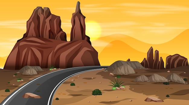 Woestijnboslandschap bij nachtscène met lange weg
