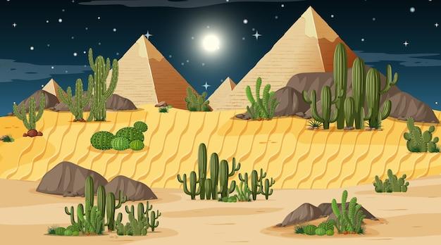 Woestijnboslandschap bij nachtscène met piramide
