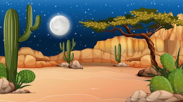 Woestijnboslandschap bij nachtscène met veel cactus
