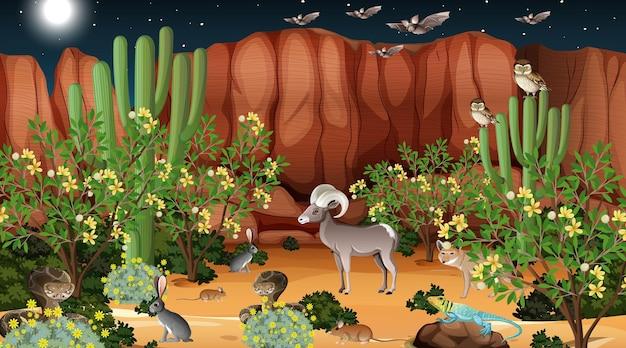 Woestijnboslandschap bij nachtscène met wilde dieren Gratis Vector