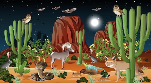 Woestijnboslandschap bij nachtscène met wilde dieren
