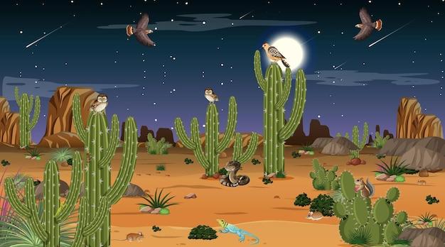 Woestijnboslandschap bij nachtscène met woestijndieren en -planten