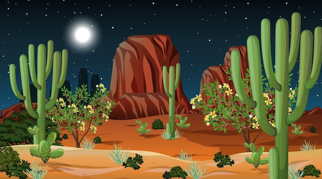 Woestijnboslandschap bij nachtscène