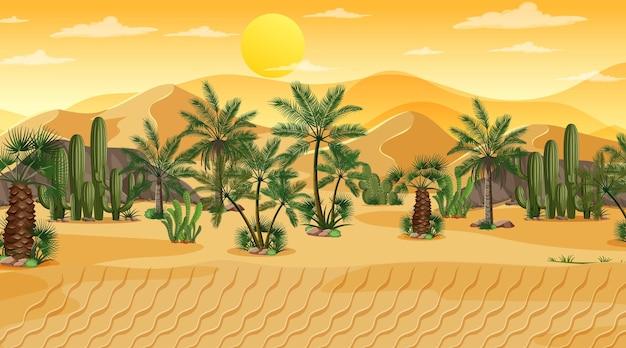 Woestijnboslandschap bij zonsondergangscène met oase