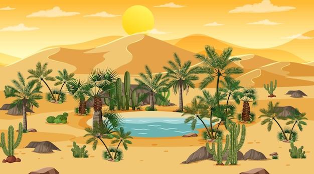 Woestijnboslandschap bij zonsondergangscène met oasis