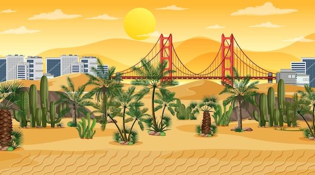 Woestijnboslandschap bij zonsondergangscène met stadsachtergrond
