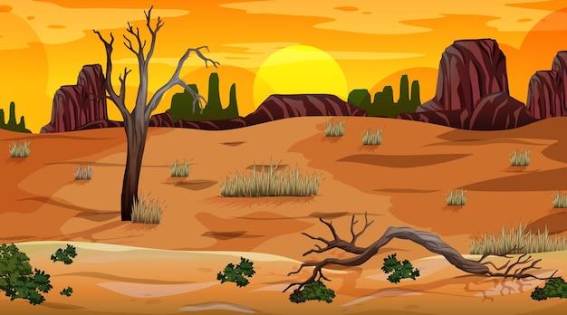 Woestijnboslandschap bij zonsondergangtijdscène