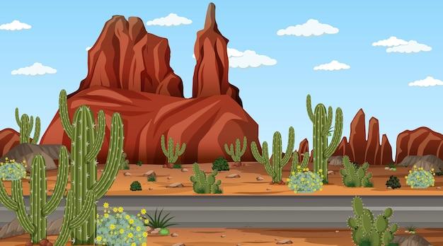 Woestijnboslandschap overdag met lange weg