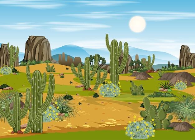 Woestijnboslandschap overdag met veel cactussen