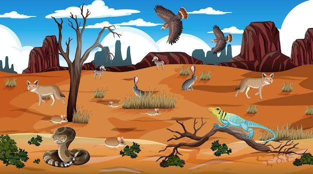 Woestijnboslandschap overdag met wilde dieren Premium Vector