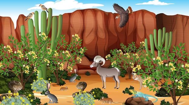 Woestijnboslandschap overdag met wilde dieren