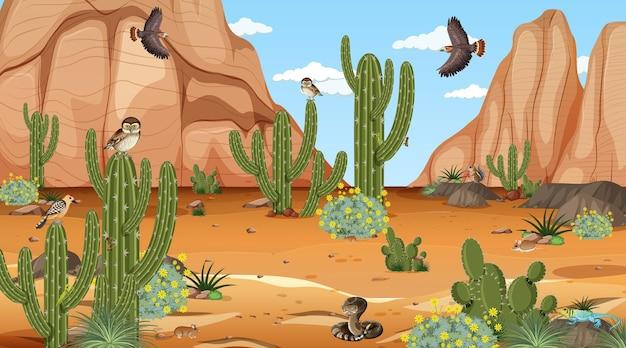 Woestijnboslandschap overdag met woestijndieren en planten