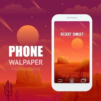 Woestijnconcept voor telefoon walpaper