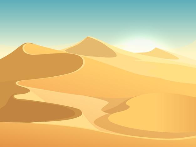 Woestijnduinen vector egyptische landschapsachtergrond