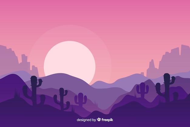 Woestijnlandschap bij de opkomst van de maan