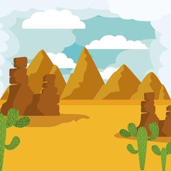 Woestijnlandschap geïsoleerd pictogram ontwerp