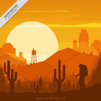Woestijnlandschap in oranje tinten