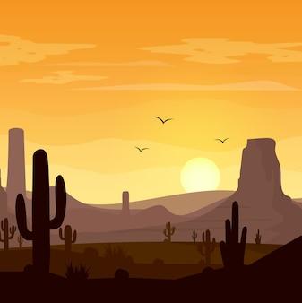 Woestijnlandschap met cactussen op de zonsondergangachtergrond