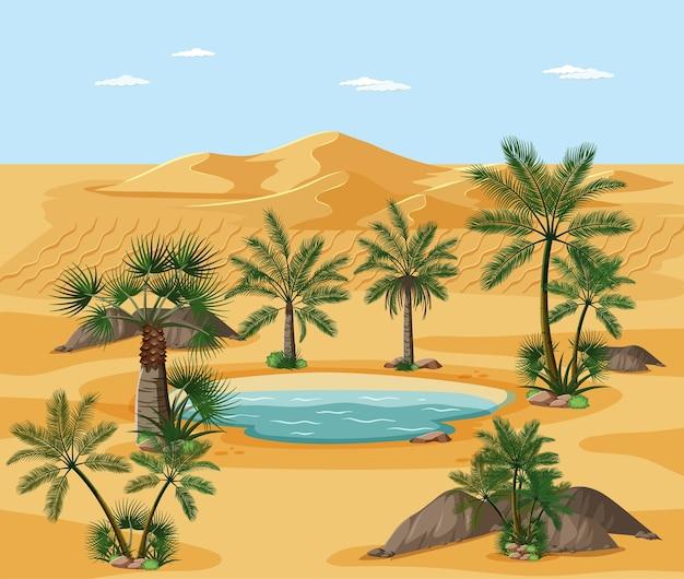 Woestijnlandschap met de elementenscène van de natuurboom