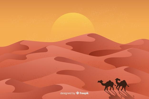 Woestijnlandschap met kamelen