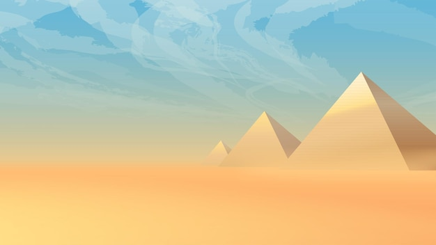 Woestijnlandschap met oude piramides bij zonsondergang