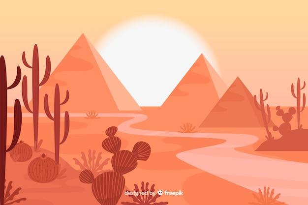 Woestijnlandschap met piramidesachtergrond