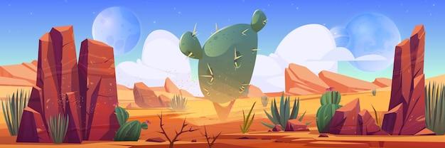 Woestijnlandschap met rotsen en cactussen