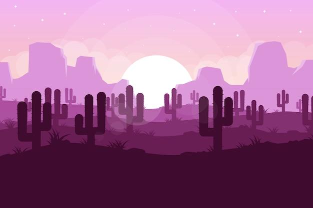 Woestijnlandschap mooie zonsondergangachtergrond