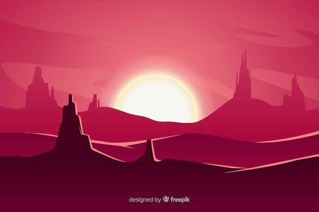 Woestijnlandschap roze achtergrond met zonsondergang
