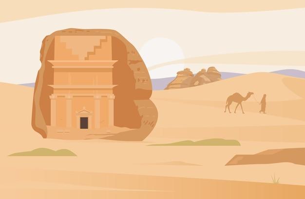 Woestijnlandschap van saoedi-arabië met oude graven van al ula hegra oude zandrotsen in het dorp
