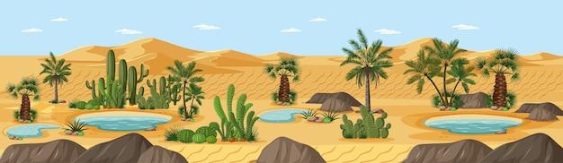 Woestijnoase met het landschapsscène van de palmenaard
