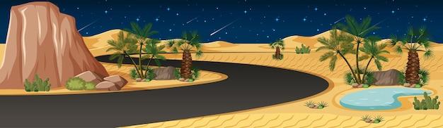 Woestijnoase met lang wegenlandschap bij nachtscène