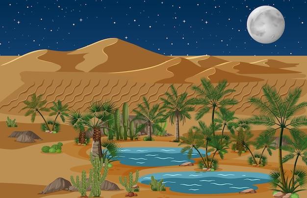 Woestijnoase met palmen en cactusaardlandschap bij nachtscène