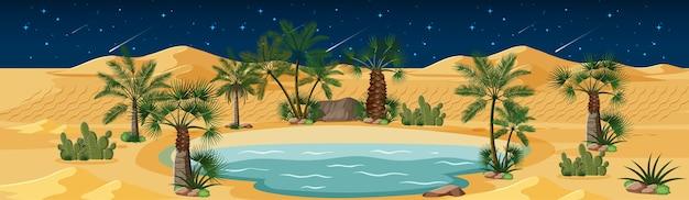 Woestijnoase met palmen en catus-natuurlandschap bij nachtscène