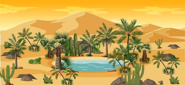 Woestijnoase met palmen en het landschapsscène van de cactusaard