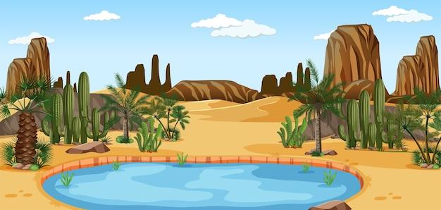 Woestijnoase met palmen en het landschapsscène van de cactusnatuur