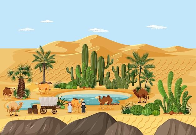 Woestijnoase met palmen en het landschapsscène van de catusnatuur