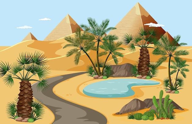 Woestijnoase met palmen en het landschapsscène van de piramideaard