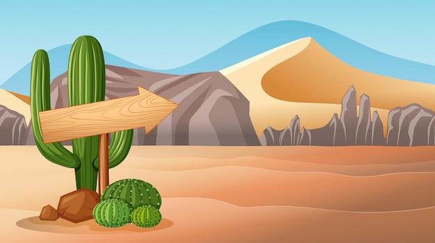 Woestijnscène met houten teken