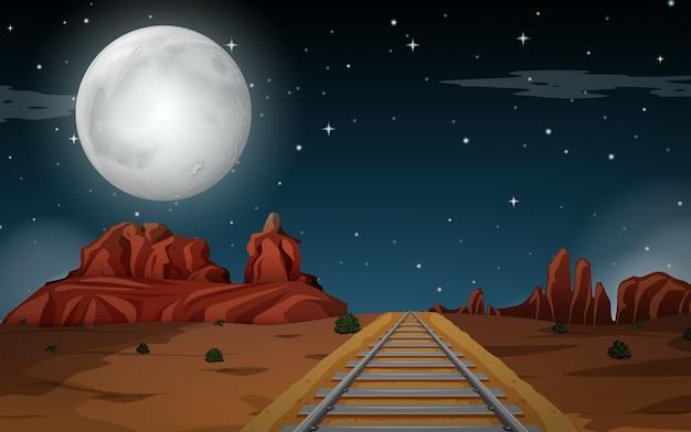 Woestijnscène 's nachts