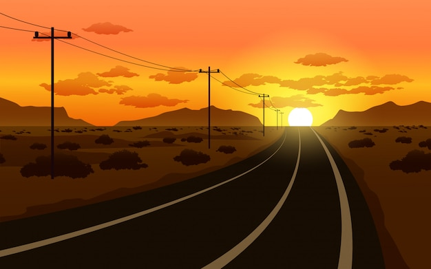 Woestijnweg met zonsondergang