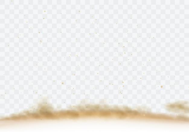 Woestijnzandstorm, bruine stoffige wolk op transparant