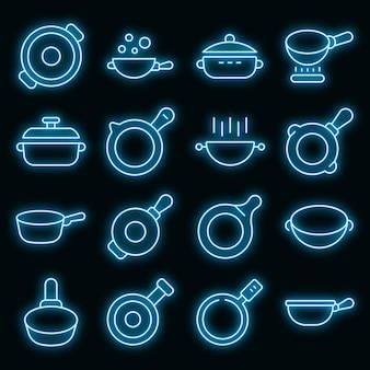 Wok koekenpan pictogrammen instellen vector neon