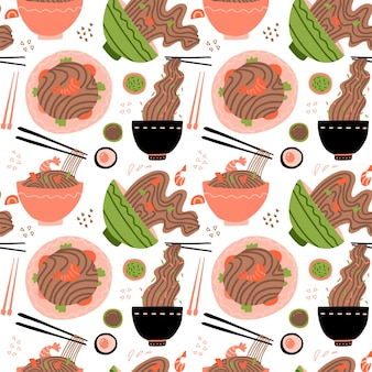 Wok met garnalen en sobanoedels. traditioneel aziatisch eten. chinese, japanse keuken. naadloos patroon met noedels in kommen.