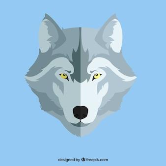 Wolf achtergrond in plat ontwerp