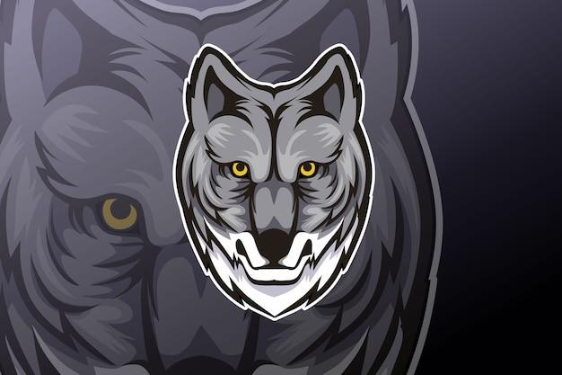 Wolf bewerkbare sport mascotte logo-ontwerp