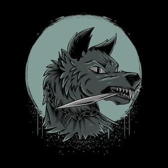 Wolf bijtmes met maanillustratie