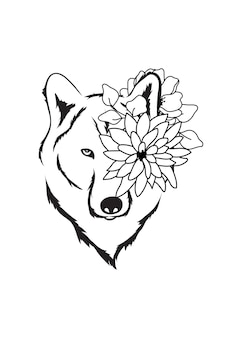 Wolf bloemhoofd eenvoudige tekening