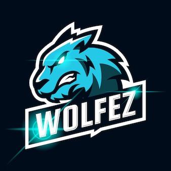 Wolf boos esport logo ontwerp sjabloon illustratie