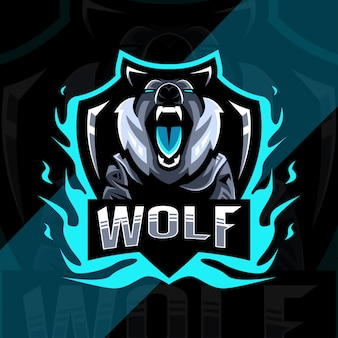 Wolf boos mascotte logo ontwerp